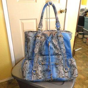 Iman Jumbo Blue Faux Python Bag